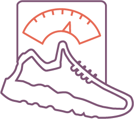 Gaining weight while on a restricted diet and exercise represented by sneaker and scale icon